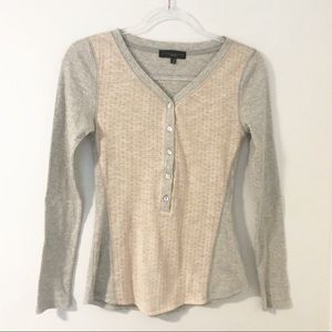 Sanctuary Thermal Knit Front Henley Shirt